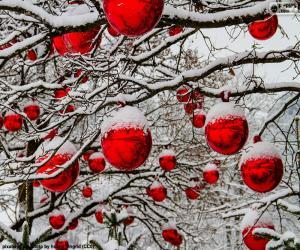 Puzzle de Bolas rojas de Navidad