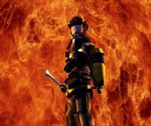Puzzle de Bombero frente al fuego