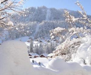 Puzzle de Bonito paisaje completamente nevado
