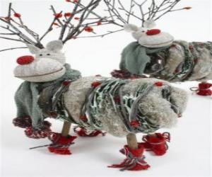 Puzzle de Bonitos muñecos de renos navideños