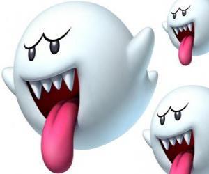 Puzzle de Boo del juego Super Mario Bros. Los Boos son criaturas espectrales con afilados dientes y largas lenguas
