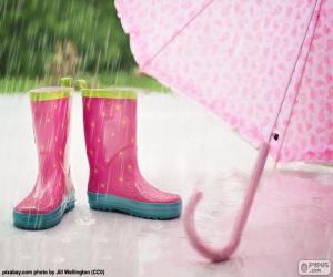 Puzzle de Botas y paraguas rosas