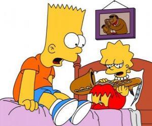 Puzzle de Brat sorprendido al ver a Lisa con un instrumento