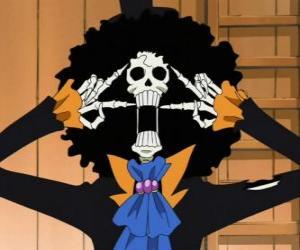 Puzzle de Brook Huesos Muertos, un esqueleto músico de One Piece