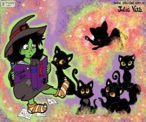 Puzzle de Bruja con sus gatos negros