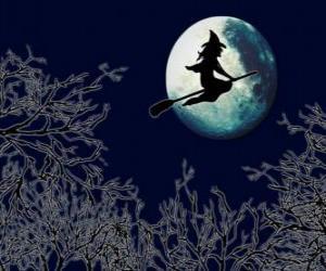 Puzzle de Bruja malvada en su escoba mágica volando hacia el castillo en una noche de luna llena
