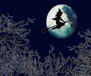 Puzzle de Bruja volando en su escoba mágica en la noche de Halloween