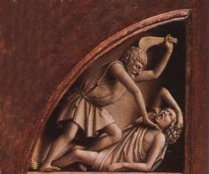 Puzzle de Caín, el primogénito de Adán y Eva, en el momento de matar a su hermano Abel