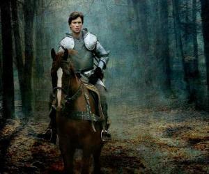 Puzzle de Caballero con armadura montado sobre su caballo