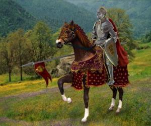 Puzzle de Caballero con casco y armadura y con su lanza preparada montado sobre su caballo