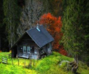 Puzzle de Cabaña, de madera en la montaña