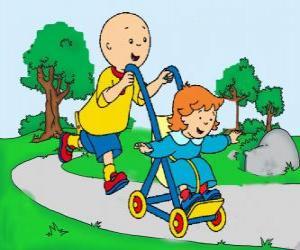 Puzzle de Caillou dando un paseo con su hermana pequeña en el cochecito