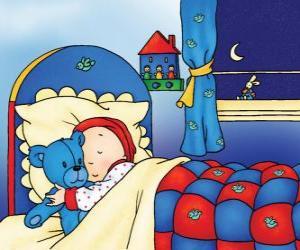 Puzzle de Caillou durmiendo