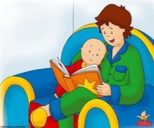Puzzle de Caillou lee un libro con su padre