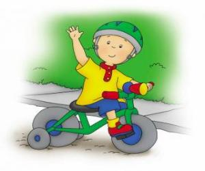 Puzzle de Caillou, montado en bicicleta