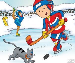 Puzzle de Caillou y Gilbert, hockey