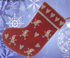 Puzzle de Calcetín navideño decorado con elfos y corazones