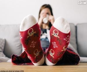 Puzzle de Calcetines con renos navideños