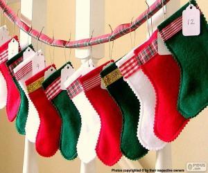 Puzzle de Calcetines de Navidad de varios colores