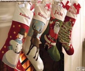 Puzzle de Calcetines navideños decorados