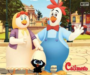 Puzzle de Calimero con sus padres