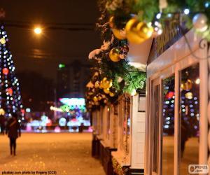 Puzzle de Calle adornada de Navidad