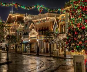 Puzzle de Calle adornada para Navidad
