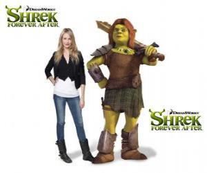 Puzzle de Cameron Diaz pone la voz a Fiona, la guerrera, en la última película Shrek felices para siempre o Shrek para siempre