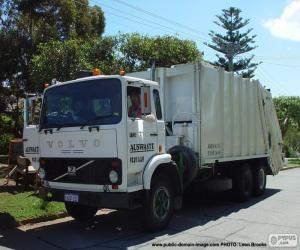 Puzzle de Camión de basura blanco