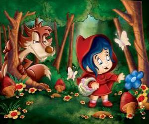 Puzzle de Caperucita Roja en el bosque con el lobo escondido entre los árboles