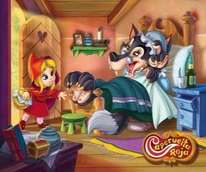 Puzzle de Caperucita Roja entra en la casa de la abuela