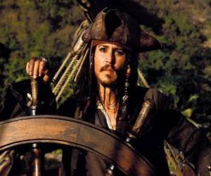 Puzzle de Capitán pirata al timón de su barco