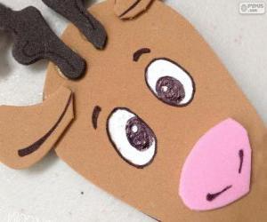 Puzzle de Cara de un reno de Navidad de cartón