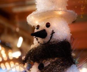 Puzzle de Cara muñeco de nieve, con sobrero y bufanda