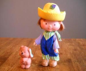Puzzle de Caramelo o Juanito Frutin jugando con su mascota, el perro Pastel. Él es uno de los amigos de Tarta de Fresa o Rosita Fresita