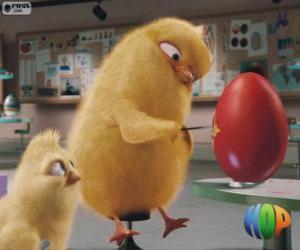 Puzzle de Carlos y Felipe pintando un huevo