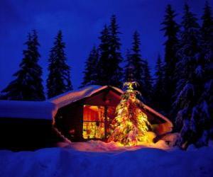 Puzzle de Casa con un gran árbol de Navidad adornado en el jardín