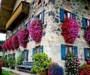 Puzzle de Casa en primavera con flores en las ventanas