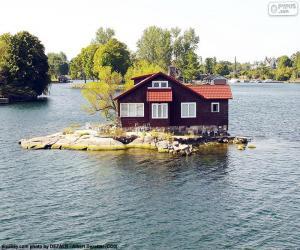 Puzzle de Casa en una pequeña isla