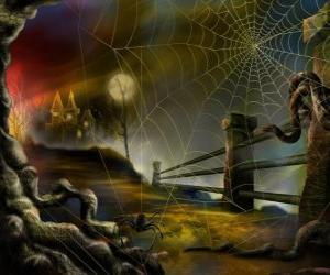 Puzzle de Casa encantada con una tela de araña en primer plano