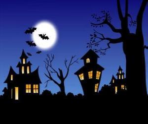 Puzzle de Casa encantada en la noche de Halloween - Luna llena y murciélagos