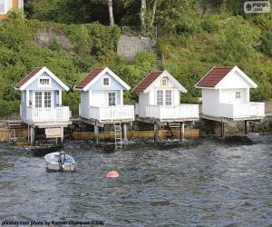 Puzzle de Casas en el lago, Noruega