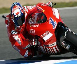 Puzzle de Casey Stoner pilotando su moto GP