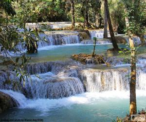 Puzzle de Cataratas Kuang Si, Laos