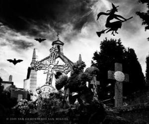 Puzzle de Cementerio en el día de Halloween