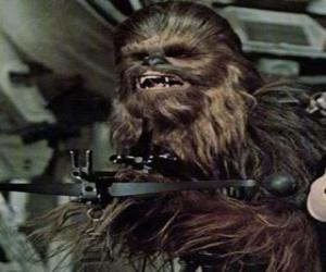 Puzzle de Chewbacca, el enorme y peludo wookiee, apuntado con su arma