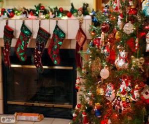 Puzzle de Chimenea decorada para navidad
