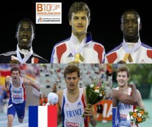 Puzzle de Christophe Lemaitre campeón de 200 m, Christian Malcolm y Martial Mbandjock (2º y 3ero) de los Campeonatos de Europa de atletismo Barcelona 2010