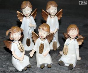 Puzzle de Cinco ángeles navideños