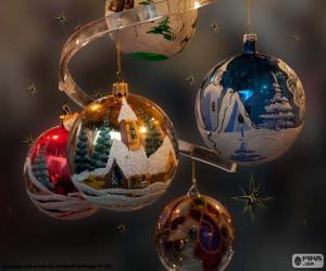 Puzzle de Cinco bolas navideñas
